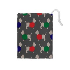 Cute Dachshund Dogs Wearing Jumpers Wallpaper Pattern Background Drawstring Pouches (medium)