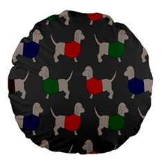 Cute Dachshund Dogs Wearing Jumpers Wallpaper Pattern Background Large 18  Premium Flano Round Cushions
