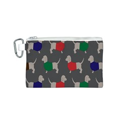 Cute Dachshund Dogs Wearing Jumpers Wallpaper Pattern Background Canvas Cosmetic Bag (s)