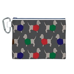 Cute Dachshund Dogs Wearing Jumpers Wallpaper Pattern Background Canvas Cosmetic Bag (l)