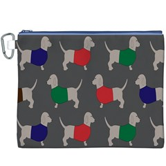 Cute Dachshund Dogs Wearing Jumpers Wallpaper Pattern Background Canvas Cosmetic Bag (xxxl)