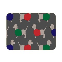 Cute Dachshund Dogs Wearing Jumpers Wallpaper Pattern Background Double Sided Flano Blanket (mini)