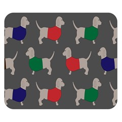 Cute Dachshund Dogs Wearing Jumpers Wallpaper Pattern Background Double Sided Flano Blanket (small)