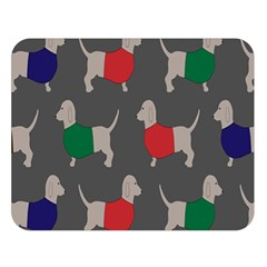 Cute Dachshund Dogs Wearing Jumpers Wallpaper Pattern Background Double Sided Flano Blanket (large)