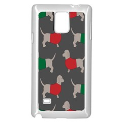 Cute Dachshund Dogs Wearing Jumpers Wallpaper Pattern Background Samsung Galaxy Note 4 Case (White)