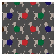 Cute Dachshund Dogs Wearing Jumpers Wallpaper Pattern Background Large Satin Scarf (square)