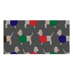 Cute Dachshund Dogs Wearing Jumpers Wallpaper Pattern Background Satin Shawl