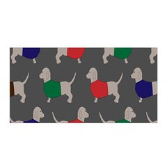 Cute Dachshund Dogs Wearing Jumpers Wallpaper Pattern Background Satin Wrap