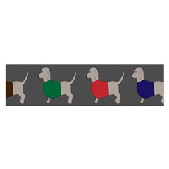 Cute Dachshund Dogs Wearing Jumpers Wallpaper Pattern Background Satin Scarf (Oblong)
