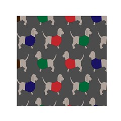 Cute Dachshund Dogs Wearing Jumpers Wallpaper Pattern Background Small Satin Scarf (Square)