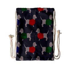 Cute Dachshund Dogs Wearing Jumpers Wallpaper Pattern Background Drawstring Bag (small)