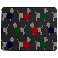 Cute Dachshund Dogs Wearing Jumpers Wallpaper Pattern Background Jigsaw Puzzle Photo Stand (rectangular)