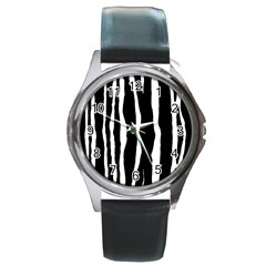 Zebra Background Pattern Round Metal Watch