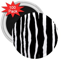Zebra Background Pattern 3  Magnets (100 Pack)