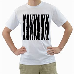 Zebra Background Pattern Men s T-Shirt (White) (Two Sided)