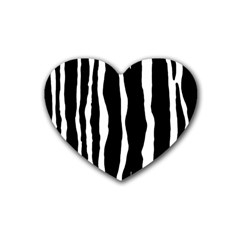 Zebra Background Pattern Heart Coaster (4 Pack)