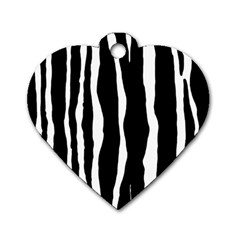 Zebra Background Pattern Dog Tag Heart (one Side)
