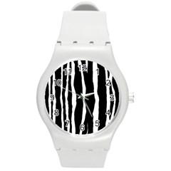 Zebra Background Pattern Round Plastic Sport Watch (m)