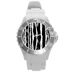 Zebra Background Pattern Round Plastic Sport Watch (l)