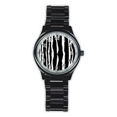 Zebra Background Pattern Stainless Steel Round Watch