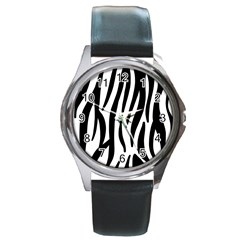 Seamless Zebra A Completely Zebra Skin Background Pattern Round Metal Watch