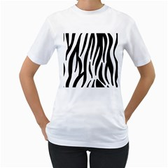Seamless Zebra A Completely Zebra Skin Background Pattern Women s T Shirt (white) (two Sided)