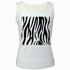 Seamless Zebra A Completely Zebra Skin Background Pattern Women s White Tank Top