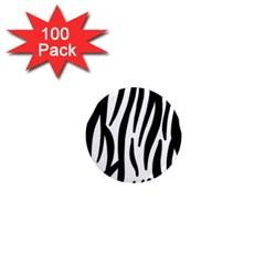 Seamless Zebra A Completely Zebra Skin Background Pattern 1  Mini Magnets (100 Pack)
