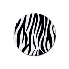 Seamless Zebra A Completely Zebra Skin Background Pattern Rubber Round Coaster (4 Pack)