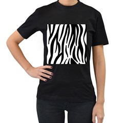 Seamless Zebra A Completely Zebra Skin Background Pattern Women s T Shirt (black) (two Sided)