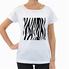 Seamless Zebra A Completely Zebra Skin Background Pattern Women s Loose-Fit T-Shirt (White)