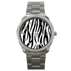 Seamless Zebra A Completely Zebra Skin Background Pattern Sport Metal Watch