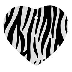 Seamless Zebra A Completely Zebra Skin Background Pattern Heart Ornament (Two Sides)