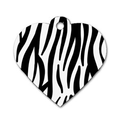 Seamless Zebra A Completely Zebra Skin Background Pattern Dog Tag Heart (two Sides)