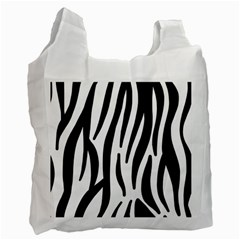 Seamless Zebra A Completely Zebra Skin Background Pattern Recycle Bag (One Side)