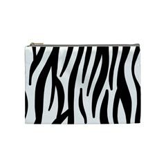 Seamless Zebra A Completely Zebra Skin Background Pattern Cosmetic Bag (medium)