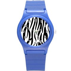 Seamless Zebra A Completely Zebra Skin Background Pattern Round Plastic Sport Watch (s)