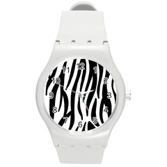Seamless Zebra A Completely Zebra Skin Background Pattern Round Plastic Sport Watch (m)