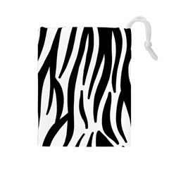 Seamless Zebra A Completely Zebra Skin Background Pattern Drawstring Pouches (large)