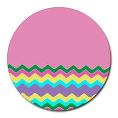 Easter Chevron Pattern Stripes Round Mousepads