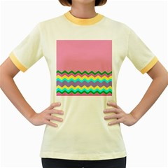 Easter Chevron Pattern Stripes Women s Fitted Ringer T Shirts