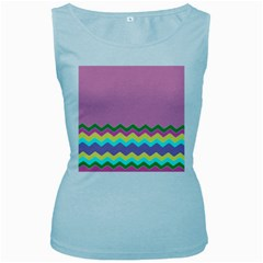 Easter Chevron Pattern Stripes Women s Baby Blue Tank Top