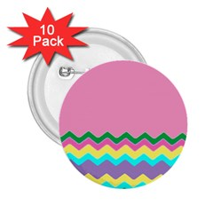 Easter Chevron Pattern Stripes 2 25  Buttons (10 Pack)