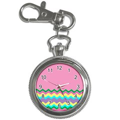 Easter Chevron Pattern Stripes Key Chain Watches