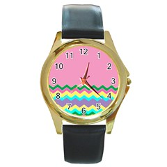 Easter Chevron Pattern Stripes Round Gold Metal Watch