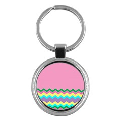 Easter Chevron Pattern Stripes Key Chains (round)