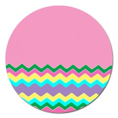 Easter Chevron Pattern Stripes Magnet 5  (round)
