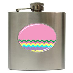 Easter Chevron Pattern Stripes Hip Flask (6 Oz)