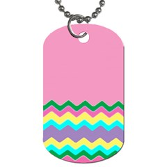 Easter Chevron Pattern Stripes Dog Tag (two Sides)