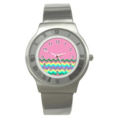 Easter Chevron Pattern Stripes Stainless Steel Watch